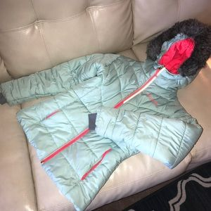 Columbia mint green/neon coral Girls Coat size M